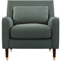 Content by Terence Conran Oksana fauteuil, donker kathedraalgrijs met poten in donker hout en messing CHAOKS031GRY-ME
