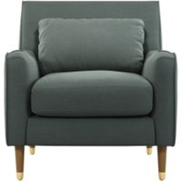 Content by Terence Conran Oksana fauteuil, donker kathedraalgrijs met poten in licht hout en messing CHAOKS035GRY-ME