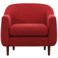 Custom MADE Tubby fauteuil, brievenbusrood met donkere houten poten CHATUBY72RED-ME