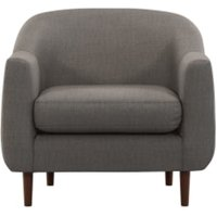Custom MADE Tubby fauteuil, tingrijs met donkere houten poten CHATUBY73GRY-ME